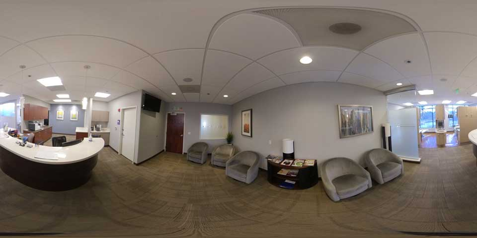 360 view of lobby area at Beaverton office of Periodontal Associates