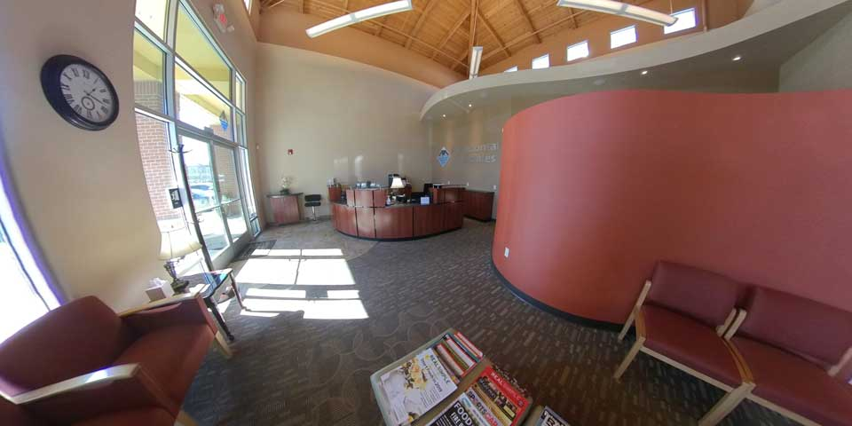 360 view of waiting area at Periodontal Associates